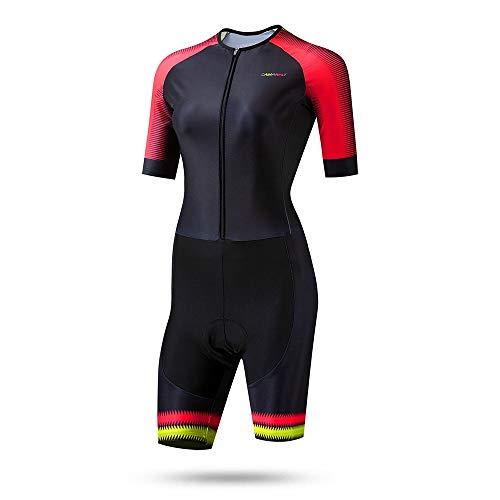 JTRHD Atmungsaktives Fahrradtrikot Triathlon Sommer Radtrikot Damen Skating Kleid-Kurzschluss-Hülsen-rote Frauen Sommerkleidung (Farbe : Rot, Size : XS)