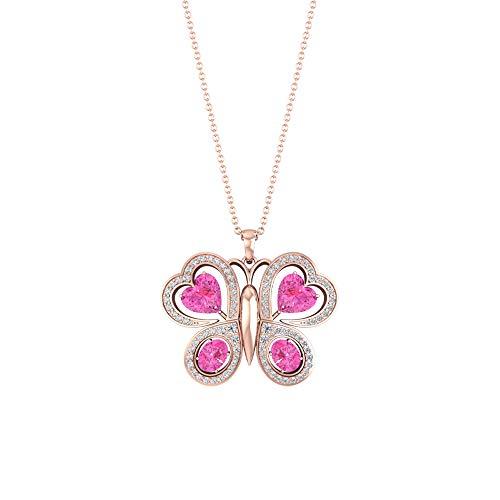 Colgante de mariposa con forma de corazón ovalado de zafiro rosa creado en laboratorio de diamante certificado, piedra natal de julio, 10K Oro rosa Con cadena