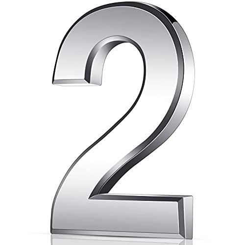 3 Zoll 3D Mailbox Nummern Selbstklebende Hausnummern Wasserdichte Adress Nummern Tür Straße Nummer Aufkleber für Haus Mailbox Apartment Hotel Tür Zimmer, Silber (2)