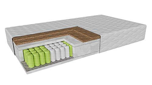 Taschenfederkernmatratze doppelt mit Kokosnuss CARPI | Härte: H3 / H5 (hart/sehr hart) Höhe: 19 cm | Od 80x200 do 200x200cm | Wende-Matratze Abnehmbare Abdeckung (100 x 200 cm)