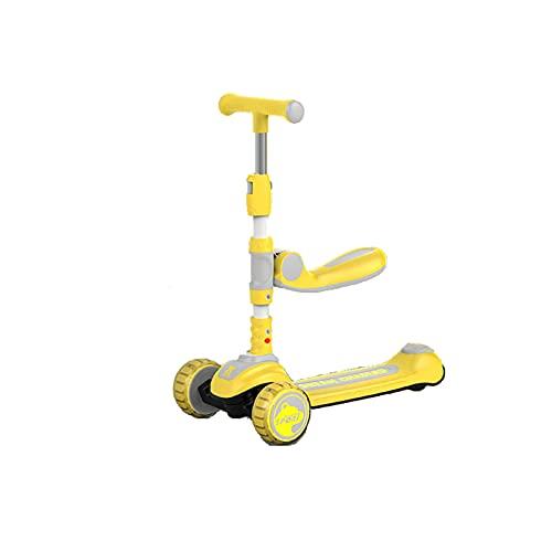 PTHZ Scooter Infantil, Scooter de niño Plegable con Asiento móvil, 3 Ruedas Intermitentes y Scooter de Pedal Ajustable en Altura, Adecuado para niños y niñas de 2 a 8 años,Amarillo