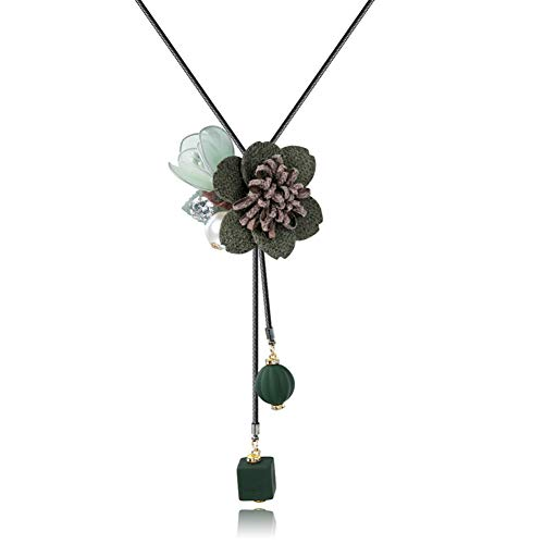 AISHIPING Flor De Tela Collares Largos para Las Mujeres Moda Charm Beads Collares Y Colgantes Joyería De Cuero PU