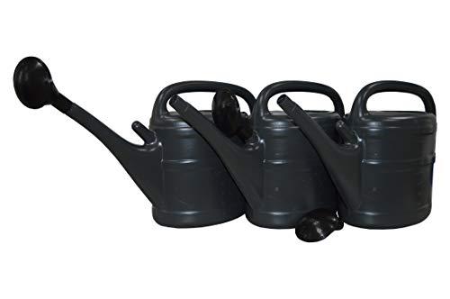Preisvergleich Produktbild 3 X Gießkanne 10 Liter Anthrazit Grau mit Maßeinteilung mit Aufsteckbrause für Garten,  Beet,  Grab Pflege usw.