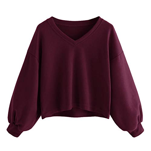 TWIFER Mode Frauen Solid Sweatshirt Pullover Drop Schulter Laterne Ärmel Sweater