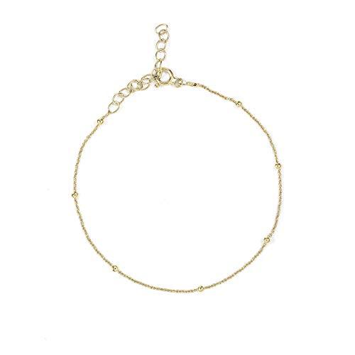 SINGULARU ® - Tobillera Dots Oro para Mujer Plata de Ley 925 con baño de Oro de 18k - Joyas mujer