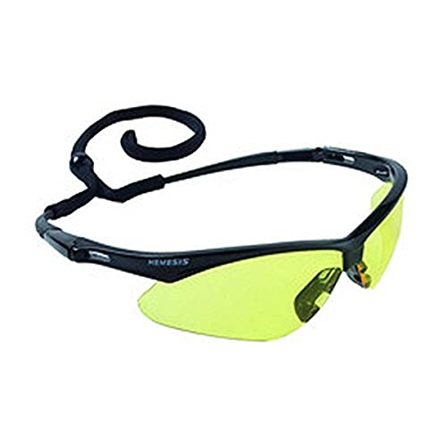 KIM CLARK 25659 Jackson V30 Nemesis Safety Glasses, 100% Polycarbonate Lens, Standard, Black/Amber