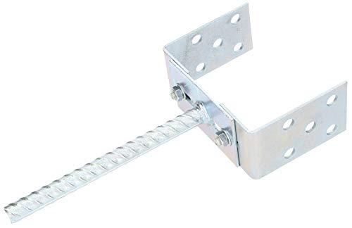 KOTARBAU® U-Pfostenträger 0-125 mm Breitenverstellbar zum Einbetonieren Silber