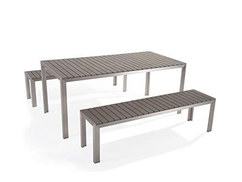 Praktisches Gartenmöbel Set Kunstholz 2 Bänke Tisch grau Nardo