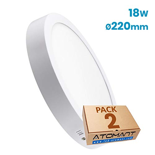 Pack 2x Plafon LED Redondo De Superficie 18W. Color Blanco Frio (6500K). 1600 Lumenes. Driver Incluido.