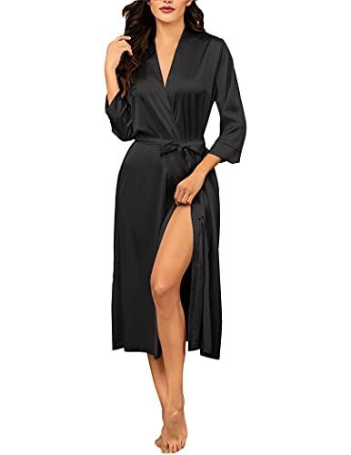 Hotouch Women's Silk Bathrobe Pure Colour Long Satin Kimono Robes with Oblique V-Neck Black