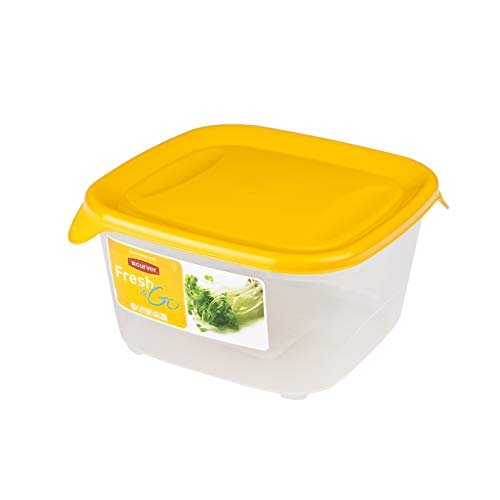CURVER Fresh & Go Cuadrado 0,8L, Transparente Y Naranja, 13.5x13.5x3.5 cm
