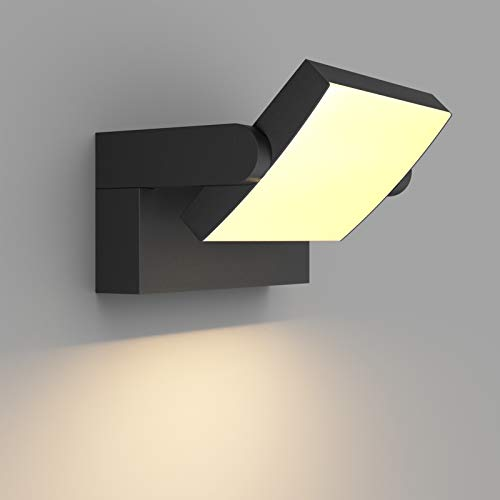 Klighten 24W LED Lámpara de Pared Exterior Interior IP65, Luz de Pared Ajustable, Moderno Apliques de Pared Aluminio para Entrada Jardines Balcones Sala, Blanco Cálido 2700K-3000K, Negro