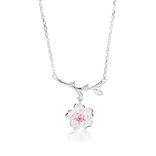 SHOUSHI Western-Mode 925 Silber Blume Plattierung Halskette 925 Sterling Silber Kirschblüten Diamant Halskette Weiblichen Schlüsselbein Kette Kurzes Temperament Hundert, 925 Silber