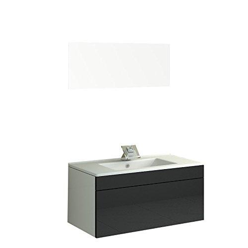 Wastafel Badmeubel Badkamermeubel Como II in zwart voor één persoon Bad uitrusting badkamer Wc badkamer wastafel onderkast Jet-Line