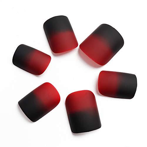 LIARTY Falsche Nägel Matt Rot Künstliche Nägel Künstliche Nägel, Kurze Fingernägel mit Klebepads für Frauen 24 StücK 12 Größen