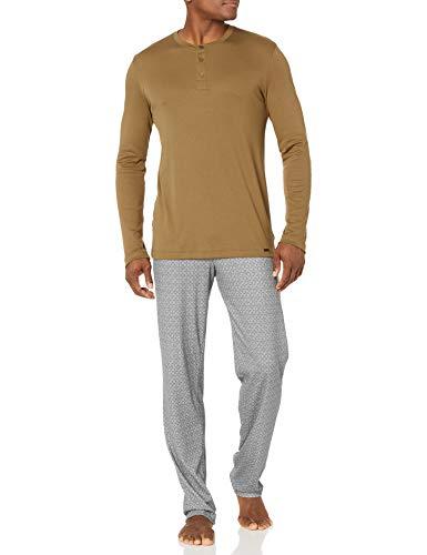 Hanro Herren Night & Day Long Sleeve Henley Pajama Pyjama Set, Artischocke, Medium