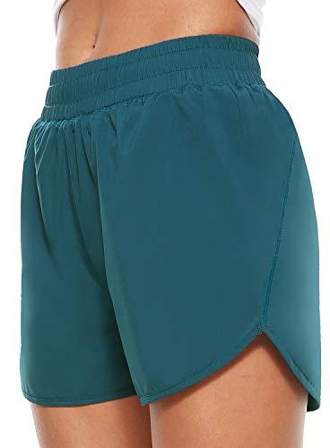 Persit Sporthose Damen Kurz, Sport-Shorts Laufshorts Kurze Laufhose Jogginghose Blaugrün 38-40 (Herstellergröße: L)