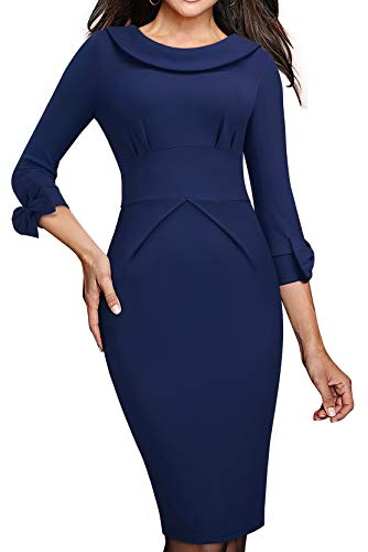 HOMEYEE Women's Crew Neck Backless 3/4 Sleeve Bowknot Work Church Dress B466