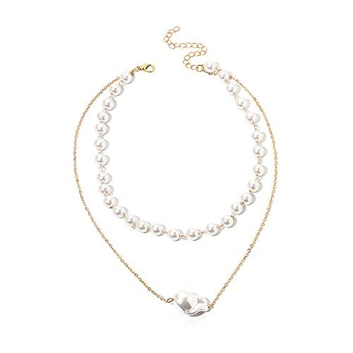 Choker Gargantilla Joyería Retro Europea y Americana Collar de Perlas Viento frío Moda Gargantilla Multicapa Cadena de clavícula
