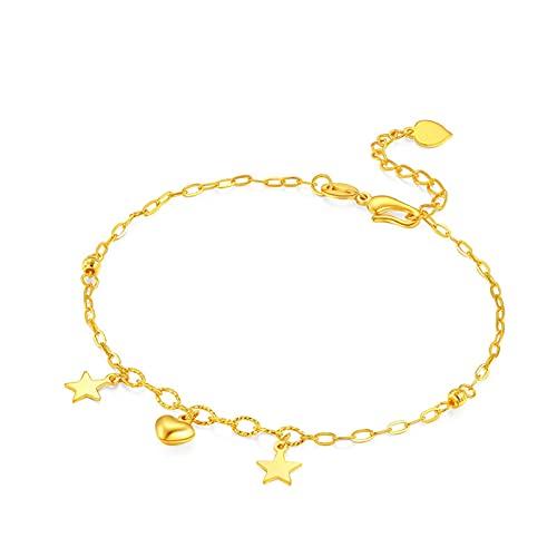 Pulseras Mujer De Estrella Corazón Son De Oro Amarillo De 24k