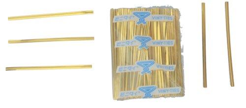 Tach-It Lot de 500 attaches torsadées Doré métallisé 10 x 8 mm, Pack of 500, doré, 500
