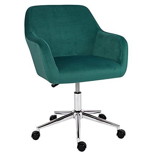 Desk Chair,Velvet Computer Chair Mid Back Office Swivel Chair Executive Chair Adjustable Height Comfy Padded Leisure Chair Armrest Chair,Home/Office Furniture (Dark Green)