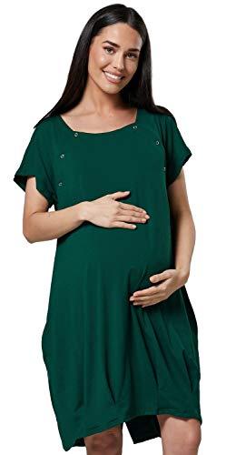 HAPPY MAMA Damen Geburtskleid Krankenhaus Umstands Nachthemd Stillfunktion. 097p (Dunkelgrün, 38-40, S)