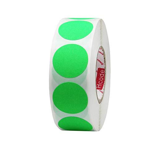Hcode 2,5 cm Farbcodierungsetiketten, Garage, Verkauf, Preis Aufkleber, rund, bunt, Permanentkleber, Klebepunkte, glänzend, beschreibbar, 1.000 Stück leuchtend grün
