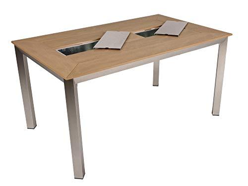Alu Tisch Florence mit 2 Eisbehältern Garten Gartentisch Outdoor Esstisch Möbel