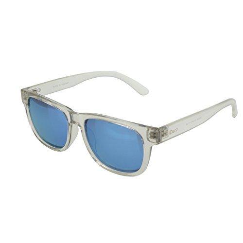 DUCO Gafas de sol clásicas retro cuadradas polarizadas TR90, protección UV400 2142, Klar / Blau,