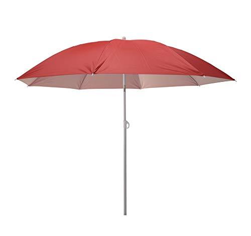 Meinposten. Sonnenschirm 2in1 Strandschirm höhenverstellbar UV Schutz Schirm Strand Ø 155 cm (Rot)
