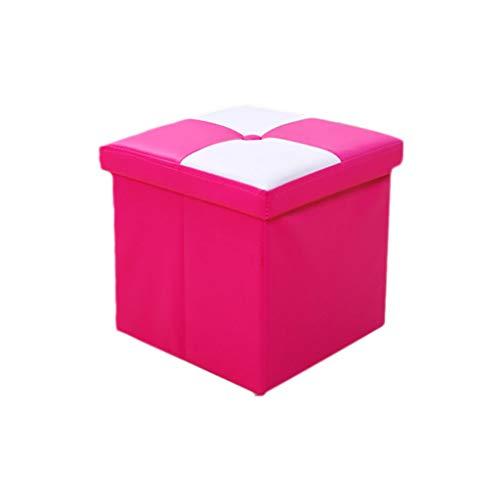 LCFF Cofre de Almacenamiento Plegable Taburete Otomano Portátil Puf Picnic Asiento Sofá Taburete Ahorro de Espacio Carga máxima 100 kg Silla (Color : Pink, Size : 31 * 31 * 31cm# 30L)