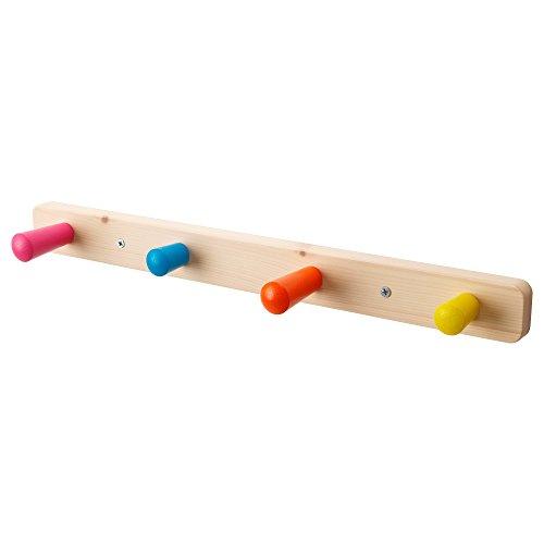 Ikea FLISAT - Appendiabiti per bambini in legno, con 4 ganci
