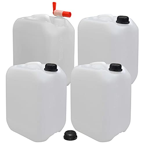 plasteo 4er Set: 10 Liter Getränke- Leer- Wasserkanister mit 1 Auslaufhahn und 4 Schraubdeckel (DIN 45) | Lebensmittelecht | BPA Frei | Tragbar | Indoor und Outdoor