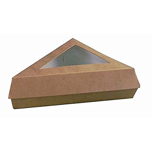 Kraft Brown Cake Slice Box with Window (Case of 50), PacknWood - Meal Prep Containers for Pizza Lunch, Pie Dessert (6.6' x 6.6' x 5.1') PK209PATTRIBR