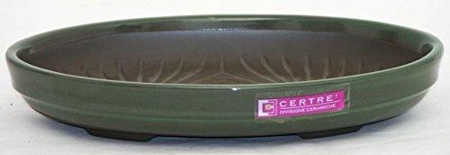 Vaso 6303 in gres (misure esterne: 22,4x15,2x3,8 h./misure interne: 21,5x14x2,7 h.) - Colore Verde Palude Smaltato - Resistente al Gelo - Made in Italy