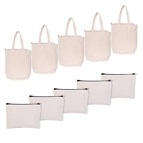 Yesloo 10Pcs bolsas de lona bolsas, bolsa con cremallera,...