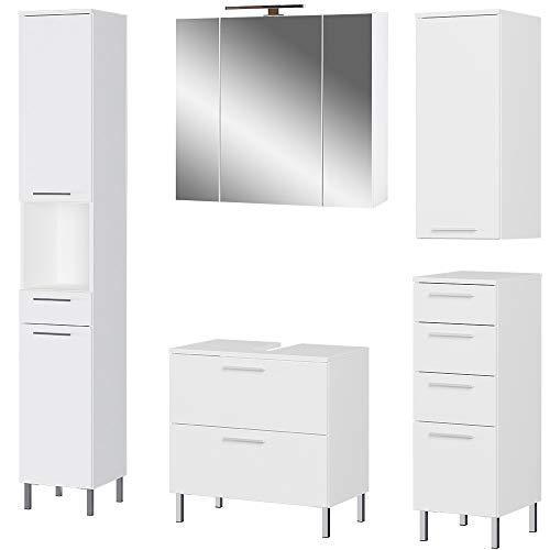 Germania 5-tlg. Badezimmer-Set 8271-84 GW-Arvada, bestehend aus Waschbeckenunterschrank, Spiegelschrank, Unterschrank, Hängeschrank und Hochschrank, in der Farbe Weiß