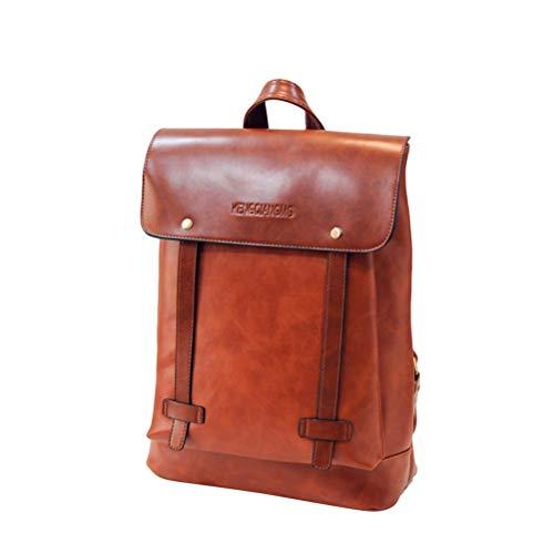 TENDYCOCO Vintage en Cuir PU Casual Backpack College Backpack Daypack Business Voyage Sac Ordinateur Bookbag Sac à Dos Ordinateur Portable pour Homme et Femme (Brun)