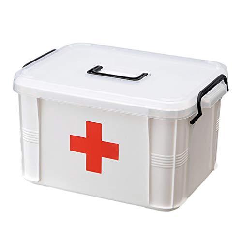 YARNOW Botiquín de Primeros Auxilios Caja de Plástico para El Hogar Botiquín de Medicamentos Píldora Organizador Caja con Asa para El Hogar Viajes Al Aire Libre Grande
