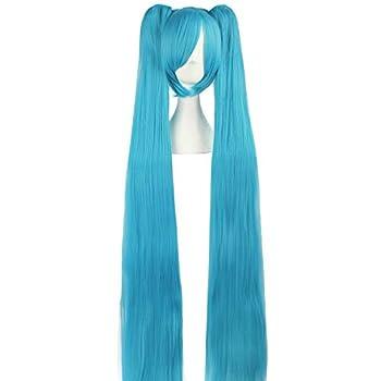 MapofBeauty 47 /120cm Fashion Long Straight wig Cosplay wig  Cyan Blue