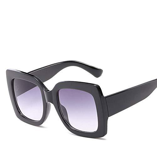 DLSM Gafas de Sol de Marco de Gran tamaño Colorido Cuadrado Mujeres Multicolor Lady Sun Glasses UV400 Adecuado para Playa Party Trekking-Gris Negro