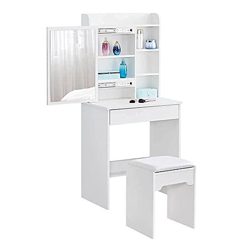 KJ Schminktisch mit Spiegel, 1 Schublade, moderner Kleiner Schminktisch mit Hocker,6 Aufbewahrungswürfel, Schminktisch für Mädchen, für Schlafzimmer, Wohnzimmer, modernes Weiß