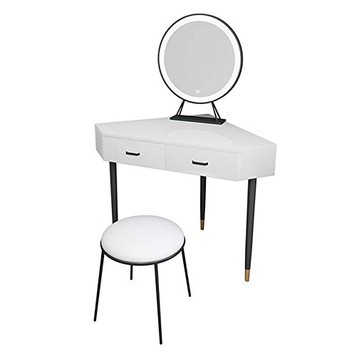 YXF White Triangle Dressing Table, Corner Vanity Desk, Makeup Desk with 2 Drawer 1 Led Mirror and Makeup Stool Cosmetic Table Bedroom Furniture with Gloss Table Top