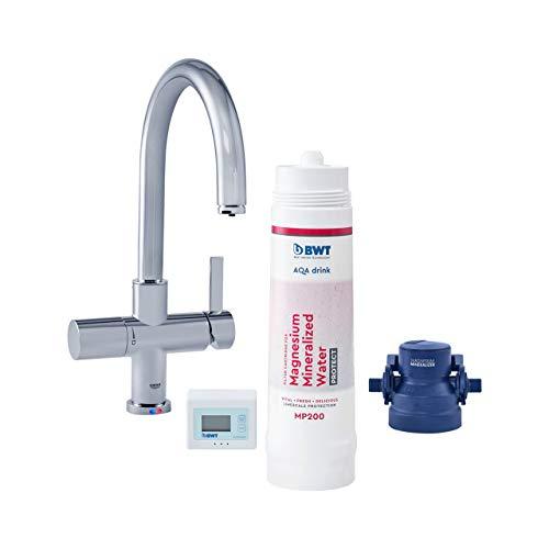 BWT Wasserfilter-Wasserhahn für Küche | AQA drink Pure C-Set | inkl. Filterkartusche mit 600l Kapazität | Küchenarmatur von GROHE