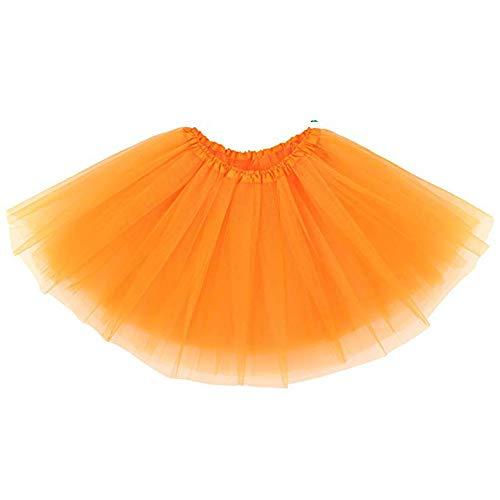 Ruiuzi, Tutu-Rock für Damen, Teenager, klassischer, elastischer, 4-lagiger Tüll-Tutu-Rock für Verkleidungen, Party, Ballett, Tanzen Einheitsgröße orange