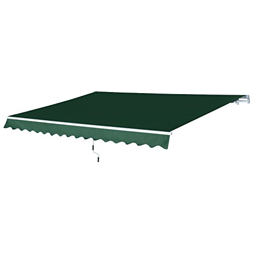 Outsunny 12' x 8.2' Outdoor Patio Manual Retractable Exterior Window Awning with Durable PU Design, Green