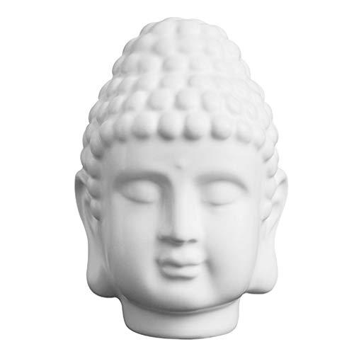 BESPORTBLE Harz Buddha Kopf Statue Buddhistische Religiöse Figur Skulptur Dekor Sammlerfigur Figur für zu Hause Und Büro Dekoration (Matt Weiß)