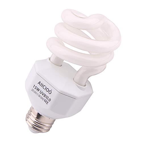 AIICIOO 10.0 Lampadina UVB 15W 10% compatta e Fluorescente per rettili Migliorare la sintesi di D3 Alta Uscita UVB per Lucertola Tartaruga 220-240V E27