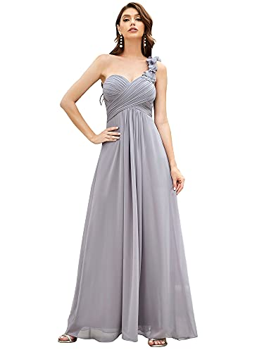 Ever-Pretty Vestito da Festa Elegante Una Spalla Linea ad A Chiffon Lunghezza del Piano Abiti da Cerimonia Grigio 44EU